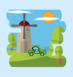 green energy on nature vector image
