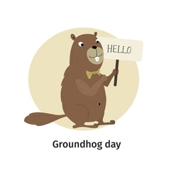 Greeting card Groundhog Day vector
