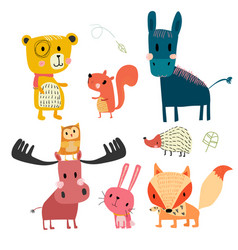 Hand drawn wild animal cute character collection vector