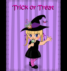Happy halloween trick or treat greeting card of vector