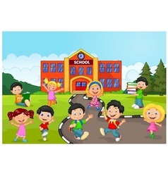 Happy school children in front of school vector image
