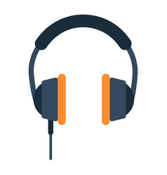 headphone flat icon listen and music vector image