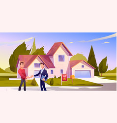 House sale deal realtor shake hand with home owner vector