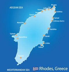 Island of Rhodes in Greece map vector