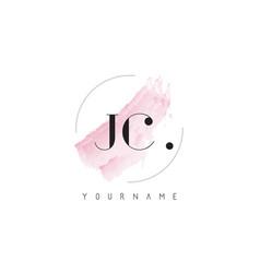 jc watercolor letter logo design with circular vector image