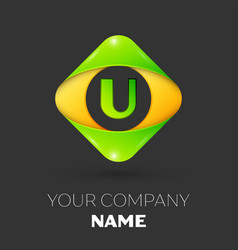 Letter u logo symbol in colorful rhombus vector