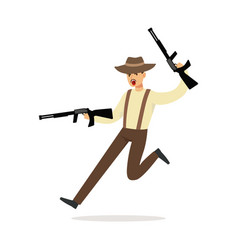Mafia man character in brown fedora hat running vector