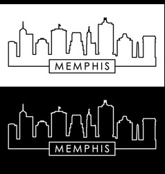 Memphis skyline linear style editable file vector