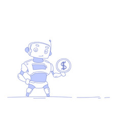 modern robot holding dollar coin money wealth vector image