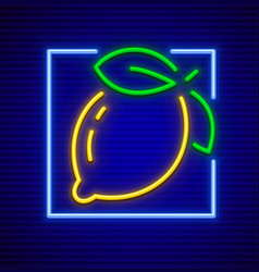 neon sign icon with lemon vector image