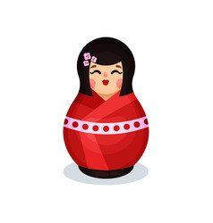 nesting doll in traditional japanese costume vector image