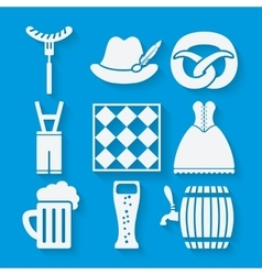 Oktoberfest beer festival icons set in white and vector