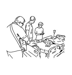 people visit patient in hospital vector image