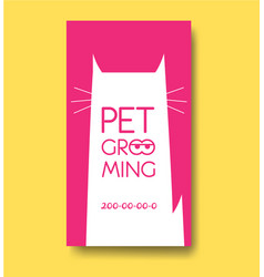 Pet grooming label and business card design vector