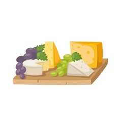 Piece of sliced cheese isolated on a white vector image