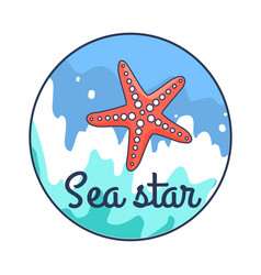 poster depicting sea star against water background vector image