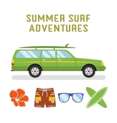 Retro flat surf car design and elements vector