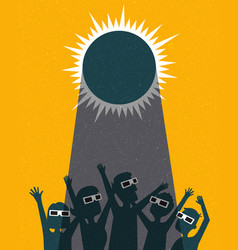 Retro people celebrate watching solar eclipse vector