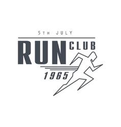 Run club black label design vector