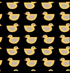 Seamless duck pattern on black background vector