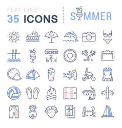 Set flat line icons summer vector