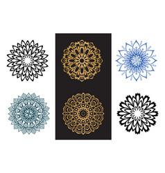 set mandala black and blue color on white and vector image
