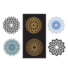 set mandala black and blue color on white vector image