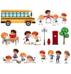 set of school kids isolated vector image