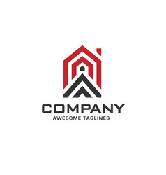 simple line house geometric logo vector image