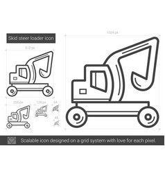 skid steer loader line icon vector image