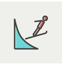 Skier jump in the air thn line icon vector image