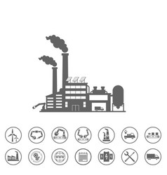 Smart factory and icons set smart factory or vector