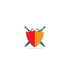 sword shield weapon logo vector image