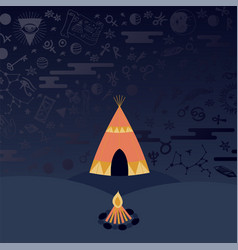 teepee tent and campfire at night astrology vector image