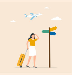 traveling tourism holiday choice concept female vector image