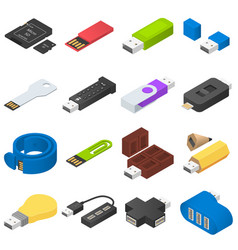 usb flash drive icons set isometric style vector image