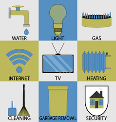 Utilities household services icon set modern vector image