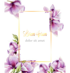 wedding card with flowers watercolor beautiful vector image