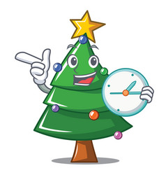 With clock christmas tree character cartoon vector