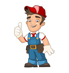 Worker in overalls vector