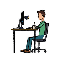 Young man working on computer at office desk vector
