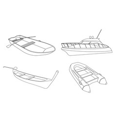 boat speedboat pirogue raft and boat icon vector image vector image