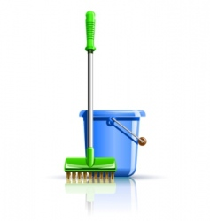 Bucket and mop for cleaning vector