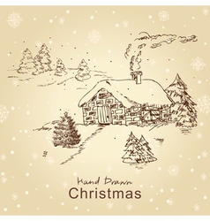 christmas card with landscape vector image vector image