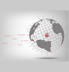 closed padlock protect world global network vector image