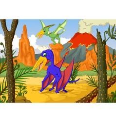 cute two pterodactyl cartoon with volcano vector image vector image