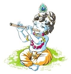 God Krishna Janmashtami Boy shepherd playing vector image