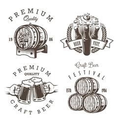 Set of vintage beer brewery emblems vector image vector image