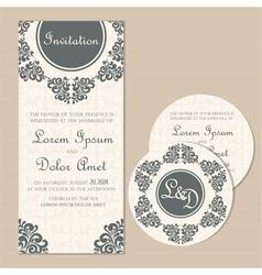 wedding vintage cards set vector image vector image