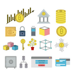 bitcoin colorful icons of secure investment vector image
